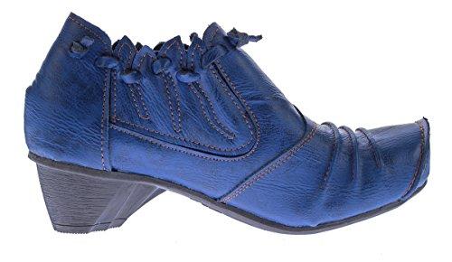 TMA 8668 Damen Comfort Leder Gr Halbschuhe 36 Leder 42 echt TMA Slipper Blau Pumps Schuhe 1qpvz