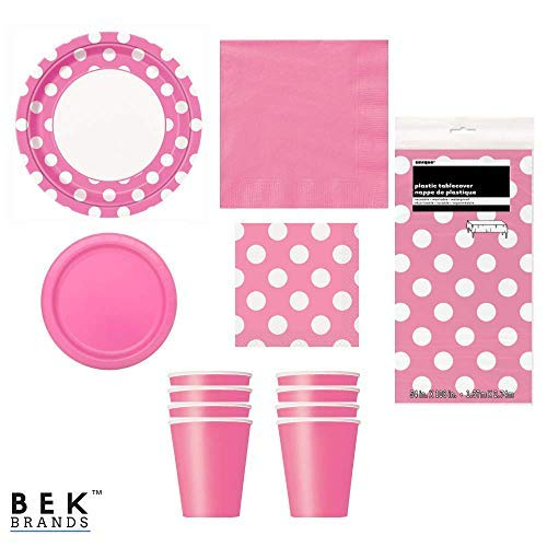 Bek Brands Hot Pink Dots Party Supply Bundle Plates, Napkins, Cups and Tablecover - 57 pieces! -