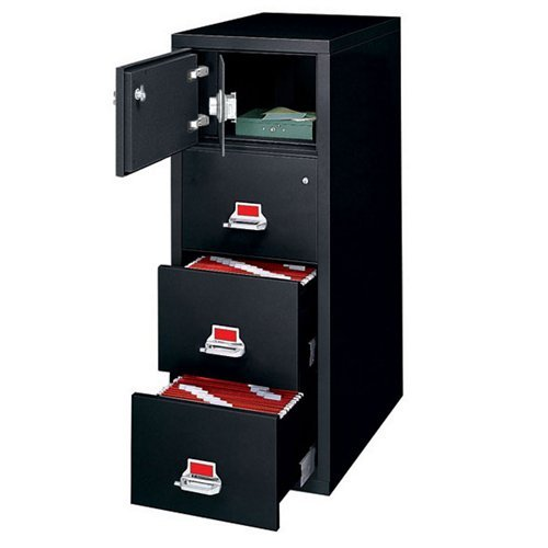 "Fireproof Three Drawer Vertical File with Safe 32""D Black"