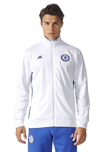 adidas Mens Chelsea FC 3 Stripe Track Top, White, Small (Adidas Chelsea Jacket)