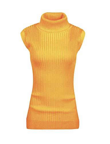 Vest Sweater Crochet - v28 Women Sleeveless High Neck Turtleneck Stretchable Knit Sweater Top-M,Tum