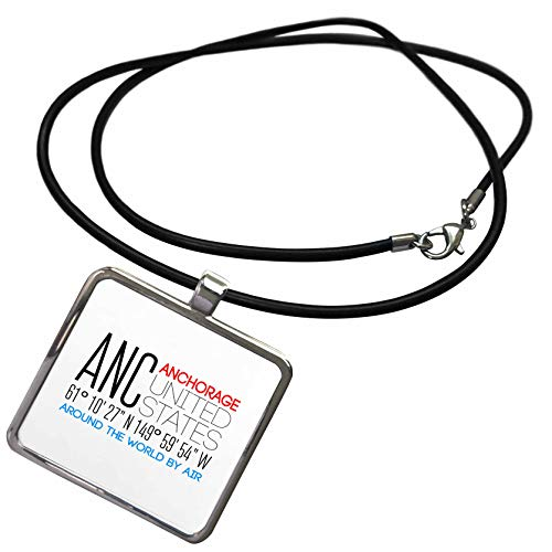 3dRose Alexis Design - Around The World by Air - Elegant Text ANC, Anchorage, United States, Location Coordinates - Necklace with Rectangle Pendant (ncl_311077_1) ()