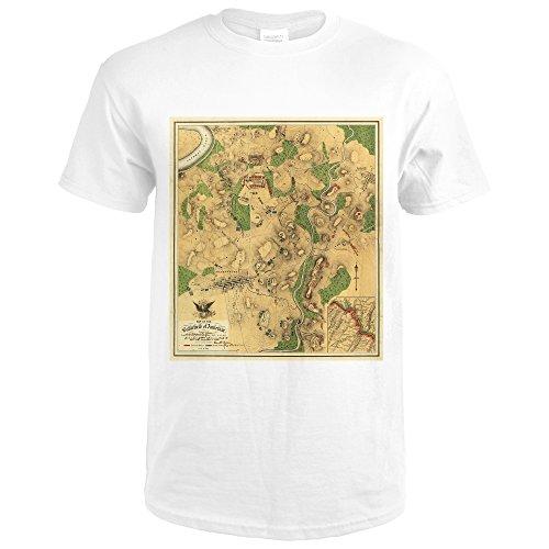 Battle of Antietam - Civil War - (1862) - Panoramic Map (Premium White T-Shirt X-Large) - Historic Panoramic Map