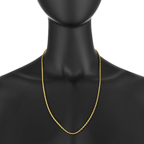 6 microns 7-36 2mm Nugget 0.25 mils 24k Yellow Gold Plated Twisted Singapore Chain Necklace