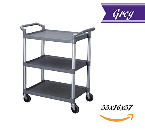 Utility Rolling Heavy Duty 3 Tier Bus Cart 350 lbs Load with Open Shelving 33-1/2''L x 16-1/8''W x 37-3''H, Easy-Grip Both Side Handles and Swivel Wheels, Plastic and Aluminum (Grey) (Load Cart)