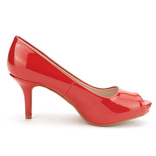 Rêve Paires Ol Femmes Élégant Classique Ouvert Bout Bas Talon Plateforme De Mariage Peep Toe Pompes Chaussures Rouge Pat