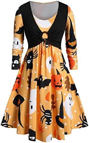 ハロウィン ワンピース コスプレ 仮装 大人 レディース 長袖 かぼちゃ コウモリ ゴースト プリーツ スイングドレス 魔女 悪