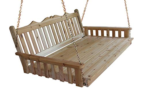 Aspen Tree Interiors Best Porch Swing Bed, Outdoor Swinging Daybed, Patio Day Bed Swings, Hanging 3 Person Bench, Unique Western Red Cedar Outside Furniture Decor, English Garden (6 Ft Natural)