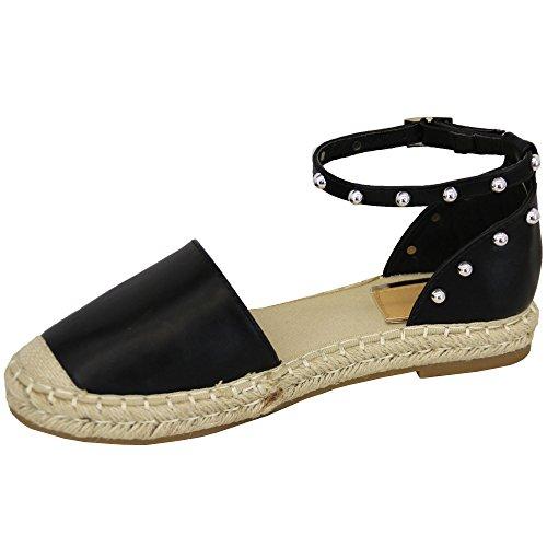 MCM Damen Knöchel Riemchen Sandalen Flach Damen Espadrilles Stecker Modische Schuhe Sommer schwarz - 7718