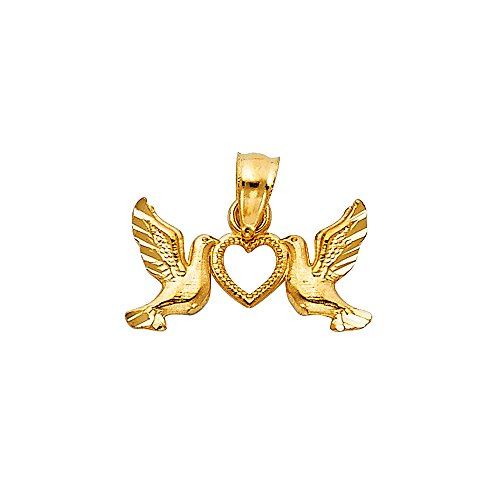 Ioka - 14K Yellow Gold Religious Cross with Holy Spirit Dove Charm Pendant For Necklace or Chain