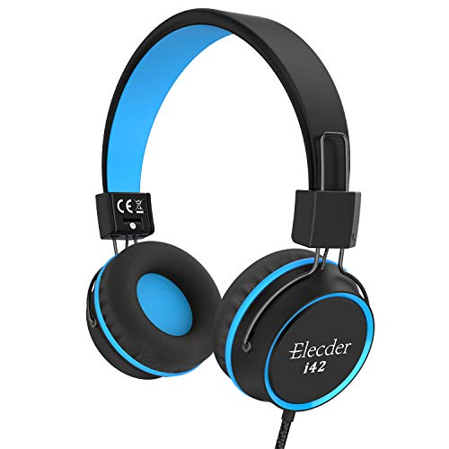 Elecder i42 Kids Headphones, Safe Volume Limited 85dB, Foldable Adjustable On Ear Headphones, 3.5mm Jack Compatible with iPad, Cellphones, Computer, MP3/4 Kindle Tablet Airplane School (Black/Blue)