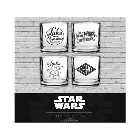 SD toys-Pack 4verres Star Wars assortiment Phrases cultes-8435450202070