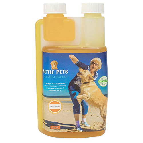 Flax Oil for Dogs-Rich in Omega 3, 6 and 9 for Dry, Flaky,Itchy Skin/Coat....