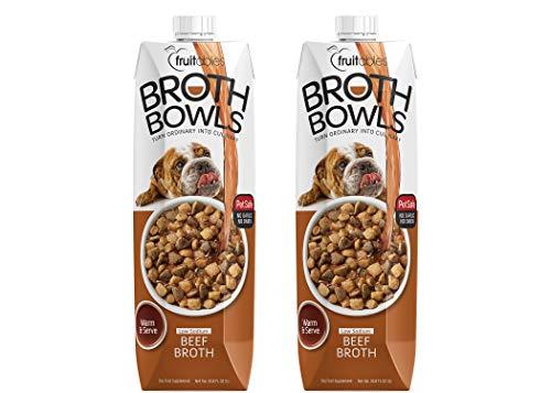 Fruitables Broth Bowls Pet Safe Natural Food Topper (Beef, 2 Pack of 33.8oz)
