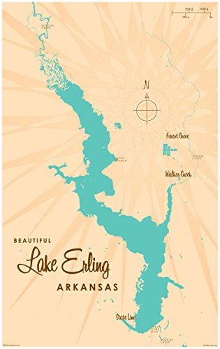Lake Erling Arkansas Map Vintage-Style Art Print by Lakebound (30