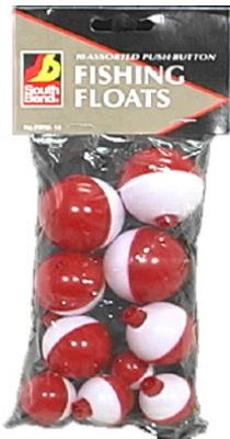 Maurice Sporting Goods FRW-10 10-Pack Push-Button Red & White Floats - Quantity 12