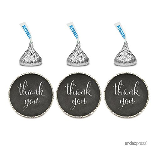 Kisses Wedding Favors - Andaz Press Chocolate Drop Labels Stickers, Thank You, Vintage Chalkboard Print, 216-Pack, For Wedding Birthday Party Baby Bridal Shower Hershey's Kisses Party Favors Decor Envelope Seals