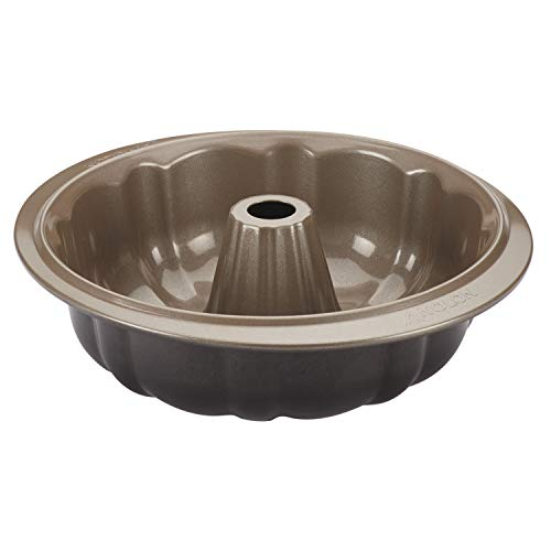 Anolon Eminence Nonstick Bakeware 9.5-Inch Fluted Mold Pan, Onyx with Umber ()