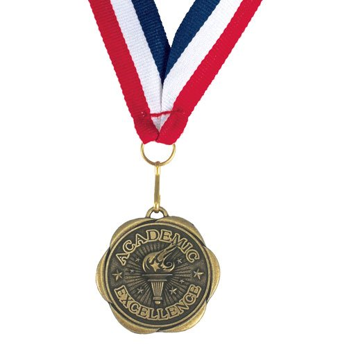 Set of 100 Award Medals with Neck Ribbons - Academic Excellence by Jones School Supply Co., Inc. (Image #2)
