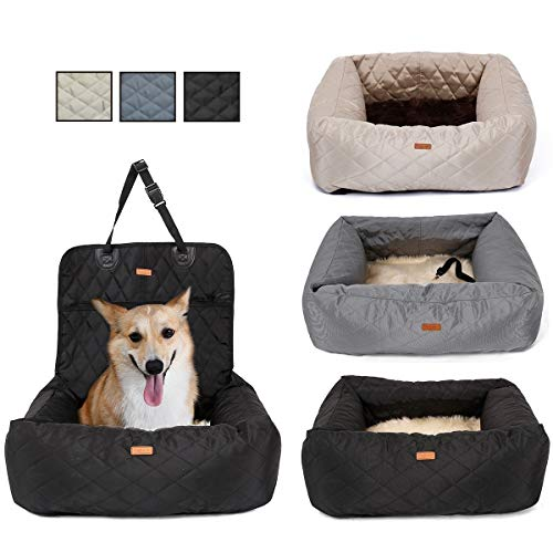 MONIKI 2in1 Dog Car Seat Bed - Waterproof & Nonslip Cat Traveling Front Booster Seats, Removable cover & Cushion (black): Pet Supplies