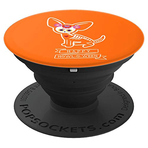 Cute Chihuahua Halloween Howl-o-ween Dia de Muertos Orange - PopSockets Grip and Stand for Phones and Tablets ()