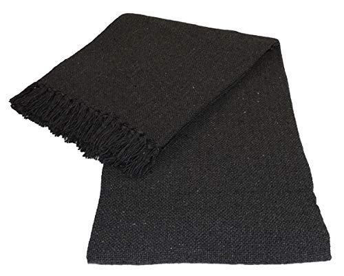Kakaos Cotton Solid Color Yoga Blankets with Matching Tassels (Gray)