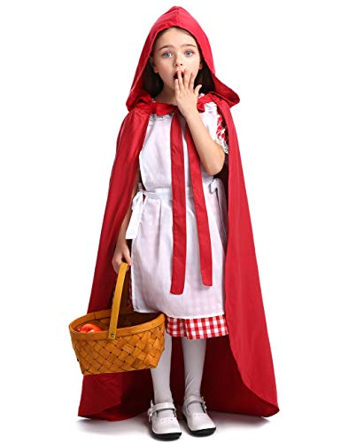 (Girls Classic Red Riding Hood Costume Red Dress with Hooded Cape (#Style 3,)