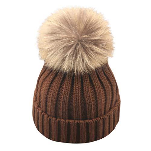 Caplover Kids Winter Knitted Pom Beanie Bobble Hat Faux Fur Ball Pom Pom Cap Unisex Kids Beanie HatGreyOne Size