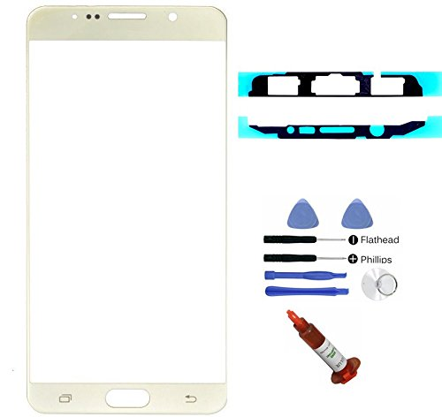 (md0410) Gold Front Outer Glass Lens Screen Replacement for Galaxy Note V 5 N9200 N920A N920P N920T N920R N920R4 + Adhesive + Tools + 5ml UV LOCA Glue (LCD & Digitizer not included) - Galaxy S4 Screen Replacement Gold