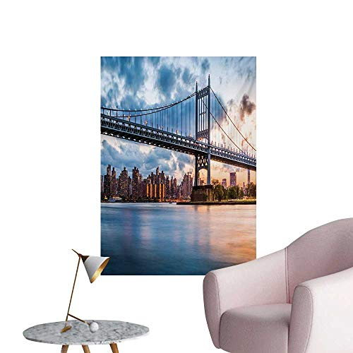 Anzhutwelve New York City Wallpaper Kennedy Triboro Bridge in Queens New York Manhattan River SceneryPeach Blue Orange W20 xL28 Poster Print ()