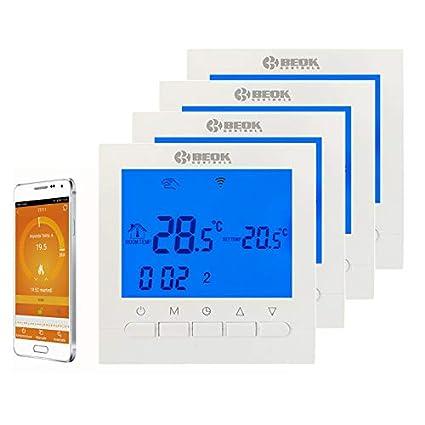 Termostato programable Beok BOT-313para caldera de gas, WiFi, pantalla LCD