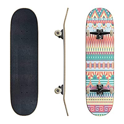 EFTOWEL Skateboards Ethnic Seamless Pattern Geometric Tribal Ornament Folk Style Classic Concave Skateboard Cool Stuff Teen Gifts Longboard Extreme Sports for Beginners and Professionals : Sports & Outdoors