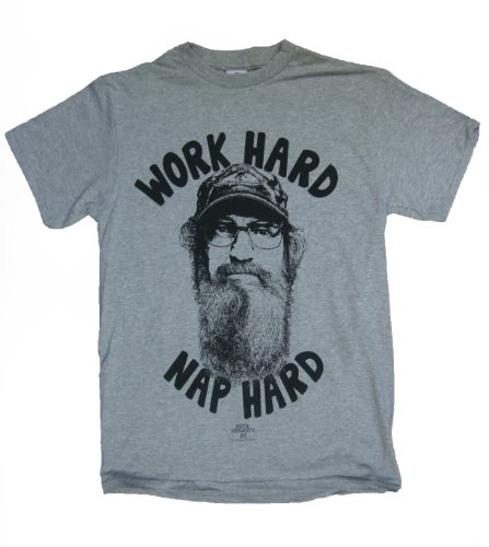 Duck Dynasty Si Robertson Commander Work Hard Nap Hard Adult Heather Gray T-Shirt (Adult Medium)