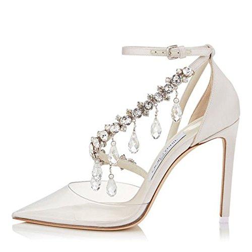 Sandalias Aguja Tacón Verano sintética Noble de Punta Moda de Oxford Segundo Colgante Estrecha Rhinestone Primavera Zapatos Mujer Piel de Cadena Sandalias de qaURtx