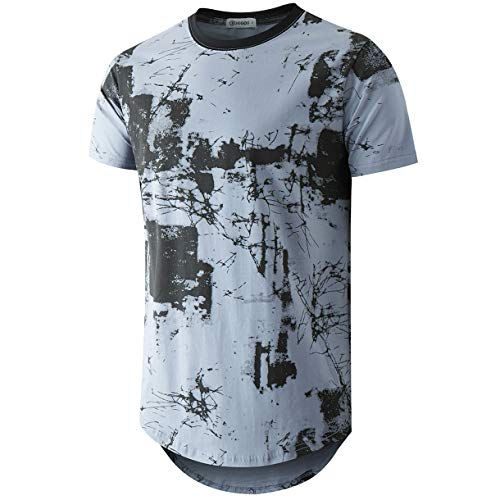 - KLIEGOU Mens Hipster Hip Hop Ripped Round Hemline Pattern Print T Shirt (86F Blue XXL)