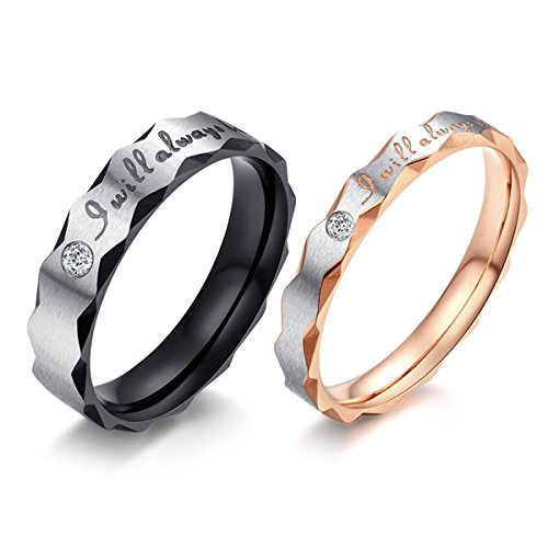 I Will Always Be with You Black & Rose Gold Plated Stainless Steel Rhinestone Cz Rings Engagement Rings