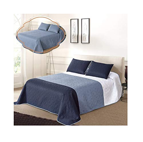 All American Collection New 3pc Solid Three Color Combination Reversible Bedspread Set (FULL/ QUEEN, White/Blue/Navy) - Navy Blue Chenille