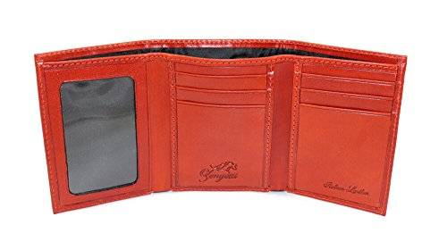 (Zenyetti Handcrafted Italian Leather TriFold Wallet, Horizontal Pockets & Clear ID Window)