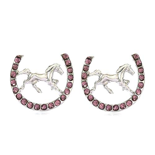 Lucky Charm Horseshoe Horse Mustang Pony Stud Post Earrings Rhinestones Fashion Jewelry (Purple)