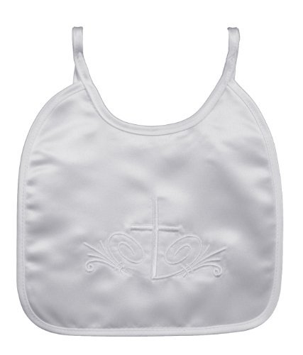 Satin Bib with Embroidered Cross BB-5