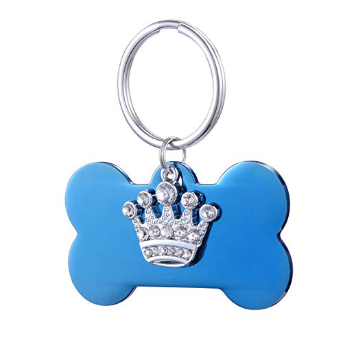 HooAMI Blue Bone Personalized Stainless Steel Pet Id Tags for Large Dogs & Cats with Crystal Crown Charm from HooAMI