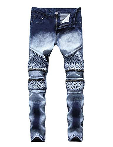 (INSFITY Men's Slim Fit Biker Jeans Stretch Skinny Moto Biker Denim Jeans Pants Blue)