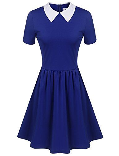 Women's Blue Peter Pan Collar Dress (M, Blue) (Blue Peter Halloween Costume)