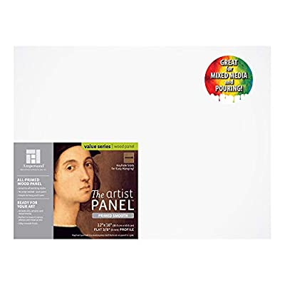 Ampersand Artist Panel Primed Smooth Surface for Painting, Pouring and Mixed-Media, 3/8 Inch Depth, 12x16 Inch (PWP9M1216)