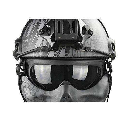 QZY Tactical Airsoft Casque Balistique - Double Straps Half Face Skull Mask - Lunettes, Armée Militaire Rapide PJ Casque… 4