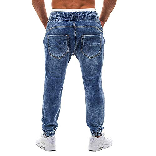 Con Uomo La Matita Unita Tinta Denim Casual Jeans Blu Pantaloni Jiameng Uomo Sottile In Da IwZqvWPnU