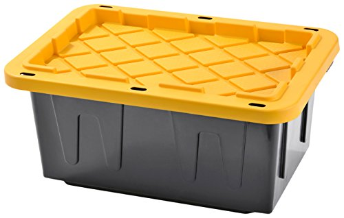 Plastic Heavy Duty Storage Tote Box 15 Gallon Black With Yellow Lid Stackable4-PACK