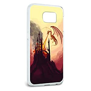 Dragon Flying Fire Breathing - Castle Fantasy Snap On Hard Protective Case for Samsung Galaxy S6