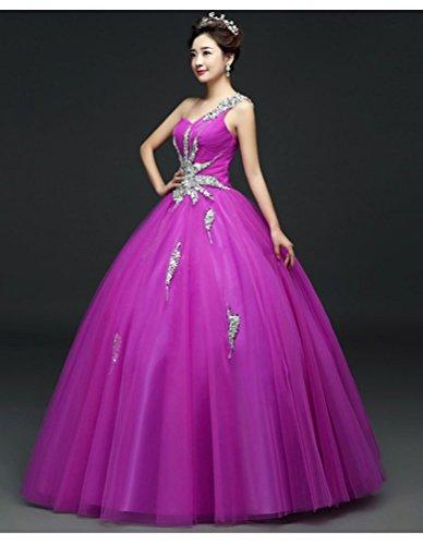 Perlen Ballkleid Emily Lila Beauty Promkleider Eine süße Schulter 6pAxBqxI