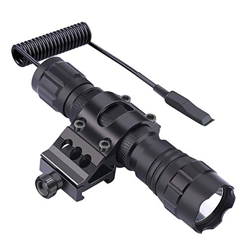 Feyachi FL11-MB Tactical Flashlight 1200 Lumen Matte Black LED Weapon Light with Picatinny Mount, Rechargeable Batteries and Pressure Switch Included (Best Surefire Weapon Light For Ar 15)